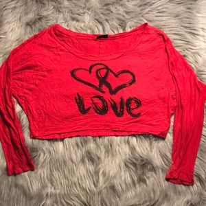 """Rue 21 Red """"Love"""" Cropped Long Sleeve"""